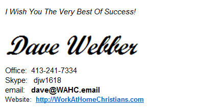 Work At Home Christians Sig File